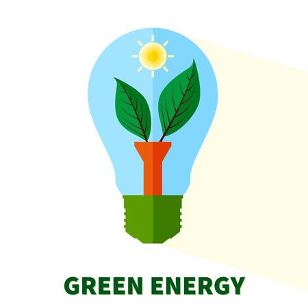 """energías renovables: bombilla plana estilizada """"energía verde"""" con hojas y sol"""