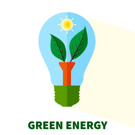 renewable: Flat stylized Green energy lightbulb with leaves and sun