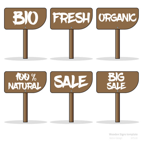 biology instruction: Set of vector signs (healthy lifestyle and sale)