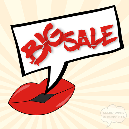 destroyed: Big sale concept with lips, comics bubble and destroyed text on sunburst background Illustration