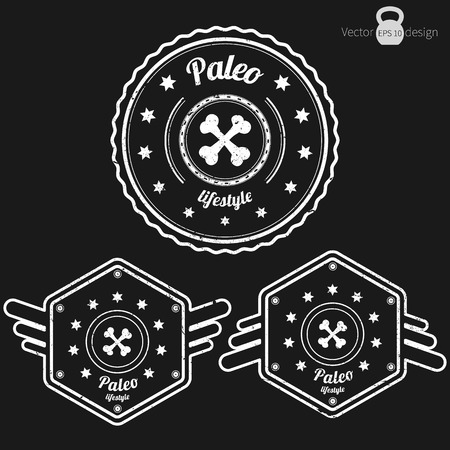carb: Vector set of three retro Paleo badges, grunge style, white color on dark background Illustration