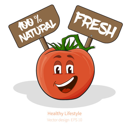 natural face: Vector Tomato with stylized cartoon look, with face and signs (natural and fresh)
