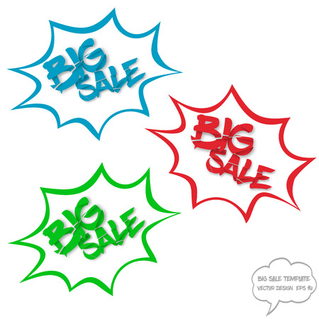 destroyed: Big sale concept with comics bubbles and destroyed text on white background