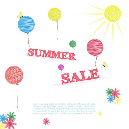 sun flowers: Summer sale concept in doodle style, with balloons, sun, flowers and sample text. Summer sale template in retro style on white background. Illustration