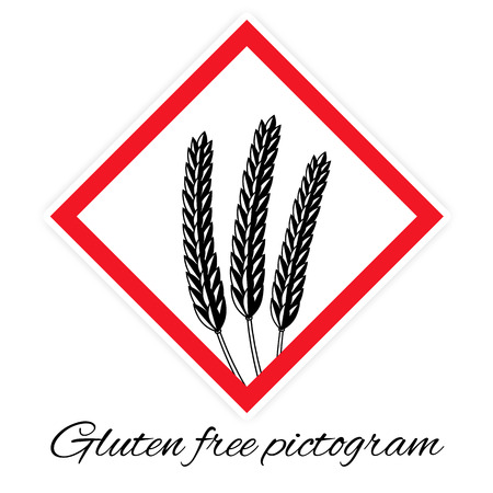 celiac: Gluten free pictogram, black and white stylized