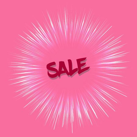 especially: sale template in retro style on pink background. Sale template with fireworks effect. Template with red color. Sale card template for various use, especially for discount events.