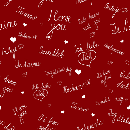 od: seamless pattern with I love you text in various languages. Seamless pattern with various heart images. Seamless pattern od red background. Romantic semaless pattern for various use.