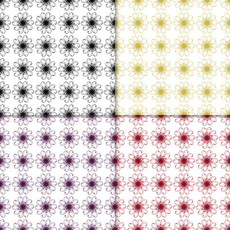 original circular abstract: Set of verctor seamless patterns with abstract ornaments. Paterns with round ornaments on white background. Original circular ornaments in various colors. Ornament seamless patterns for various use. Illustration