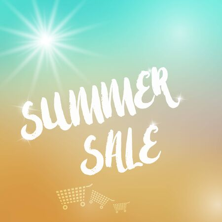 esp card: summer sale template. Summer sale template on colorful background. Template with sun object. Sale text template with sparkles. Sale card template for various use, esp. for disount events. Illustration