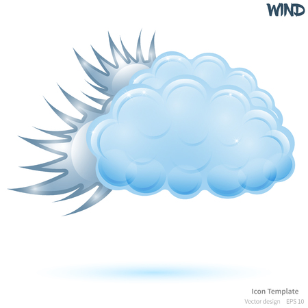 Fully wind icon template. Glossy blue cloud object. Glossy wind object. Wind icon template with blue shadow. Wind template icon for various use.