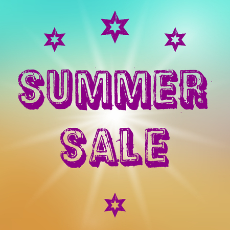 esp card: Vector summer sale template. Summer sale template on colorful background. Template with big sun object. Sale text template in purple color. Sale card template for various use, esp. for disount events.
