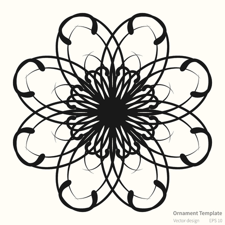 original circular abstract: Vector circular ornament abstract pattern. Round ornament on light background. Original circular ornament in dark color. Ornament is in outlines. Vector ornament pattern for various use.