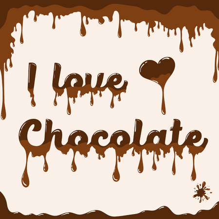 melted chocolate: I love chocolate template with melting effect. Template with melted chocolate text and with melted heart. Card concept for various use. Light brown background.