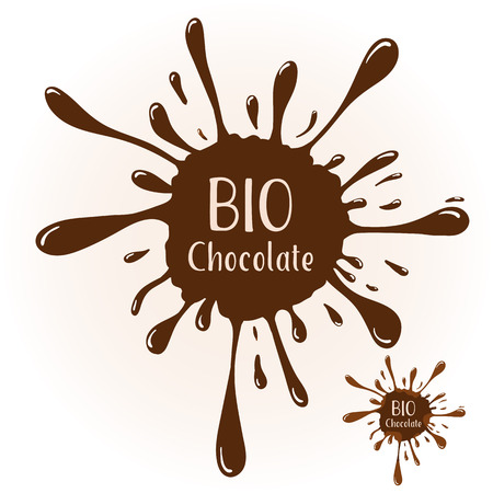 blot: chocolate blot with text BIO Chocolate. Chocolate badge template for various use. Blot with highlights. Illustration