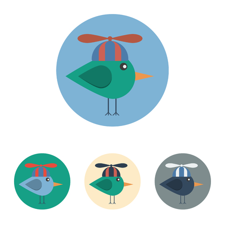 set of icons with bird with propeller hat. Icons are in modern flat style in various colors without long shadows. Icons on a circular background for various use.