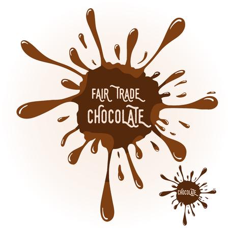 trade fair: chocolate blot with text Fair trade Chocolate. Chocolate badge template for various use. Blot with highlights.
