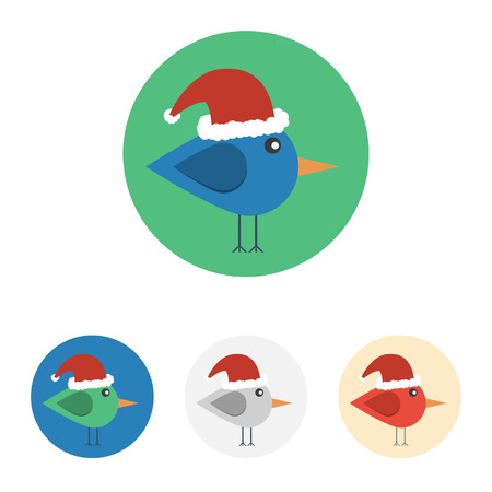 Vector set of icons with bird with santa hat. Icons are in modern flat style in various colors without long shadows. Icons on a circular background for various use.