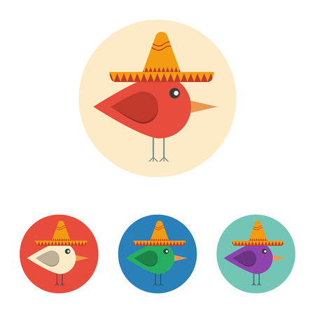 Vector set of icons with bird with mexican hat. Icons are in modern flat style in various colors without long shadows. Icons on a circular background for various use.