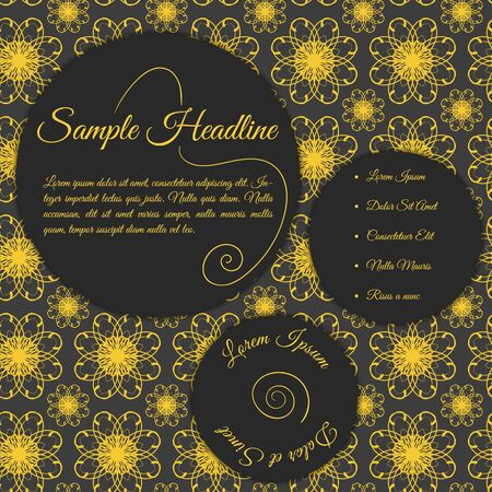 original circular abstract: Vector invitation card with papercut effect. Concept in dark grey color with golden text. Template with floral ornamental background. Card template for various use (birthday, wedding, party, etc.).