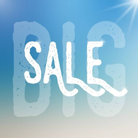 big size: Vector big sale template. Big sale template on blurred colorful background.Template with text with different size and transparency. Sale text with sparkles. Sale card template for various use.
