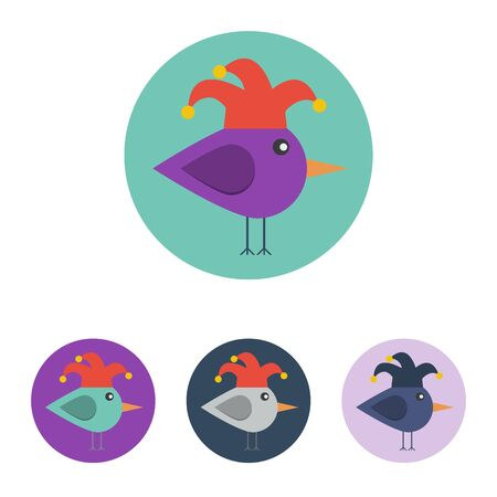 jester hat: Vector set of icons with bird with jester hat. Icons are in modern flat style in various colors without long shadows. Icons on a circular background for various use. Illustration