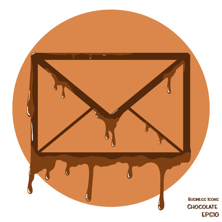 melting chocolate: Vectoru business icon of envelope. Envelope object made from cholocate. Icon with melting chocolate effect.