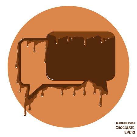 melting chocolate: Vectoru business icon of speech bubbles. Object made from cholocate. Icon with melting chocolate effect. Illustration