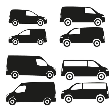 vectro: Vectro set of silhouettes of cars. Black isolated icons on white background. Collection of supply vehicles images. Illustration