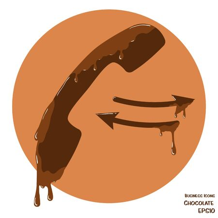 melting chocolate: Vector business icon of telephone handset. Object made from chocolate. Icon with melting chocolate effect.