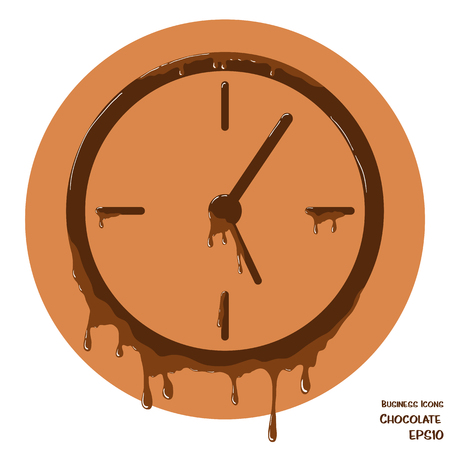 melting chocolate: Vector business icon of clock. Clock object made from chocolate. Icon with melting chocolate effect.