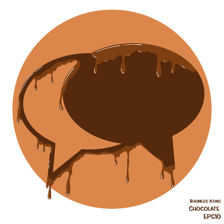 melting chocolate: Vector business icon of speech bubbles. Object made from chocolate. Icon with melting chocolate effect.