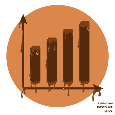Vector business icon of chart. Chart object made from chocolate. Icon with melting chocolate effect.