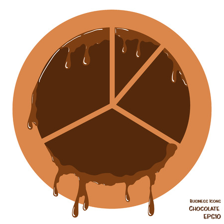 melting chocolate: Vector business icon of pie chart. Chart object made from chocolate. Icon with melting chocolate effect. Illustration