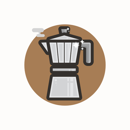 Vector icon of moka pot. Icon is in lineart style. Symbol on brown circular background.