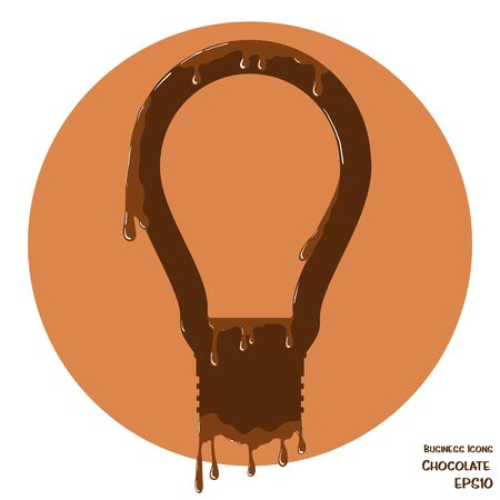 melting chocolate: Vector business icon of lightbulb. Lightbulb object made from chocolate. Icon with melting chocolate effect. Illustration