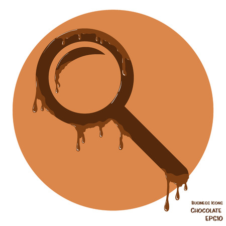 melting chocolate: Vector business icon of magnifying glass. Object made from chocolate. Icon with melting chocolate effect.