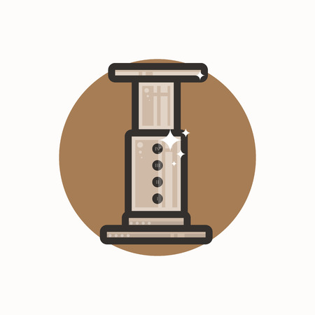 mocca: Vector icon of aeropress. Icon is in lineart style. Symbol on brown circular background.