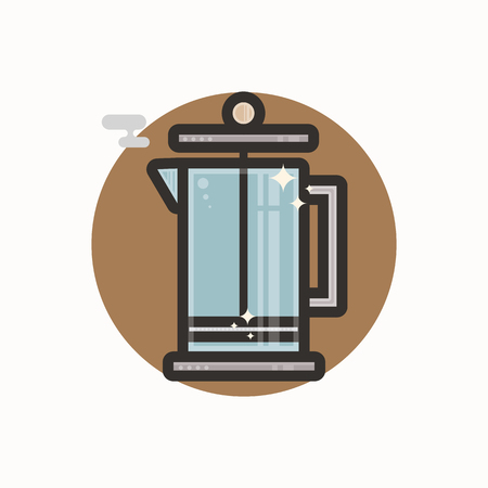 Vector icon of french press. Icon is in lineart style. Symbol on brown circular background. Иллюстрация