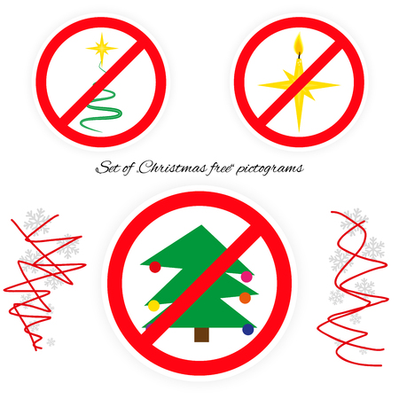 omnipresent: Vector set of Christmas free pictograms. Icons with christmas symbols stylized in road sign (stop). Set of pictograms against omnipresent Christmas advertising. Illustration