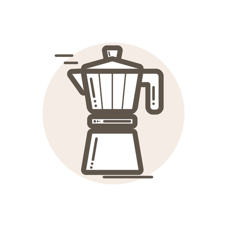 mocca: Vector icon of moka pot. Icon is in simple lineart style without coloring. Symbol on brown circular background.