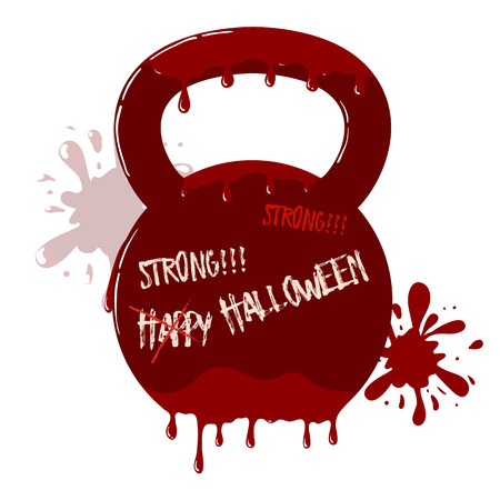 Vector Bloody Kettlebell With Dripping Blood Symbol With Blots