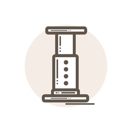 Vector icon of aeropress. Icon is in simple lineart style without coloring. Symbol on brown circular background.