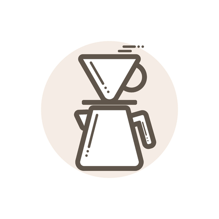 Vector icon of coffee driper. Icon is in simple lineart style without coloring. Symbol on brown circular background.