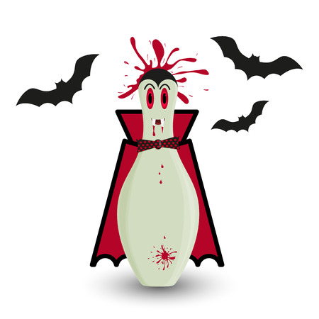Stylized vector halloween skittle in costume of vampire. Male skittle vampire with blood splash and black bats silhouettes. Illustration