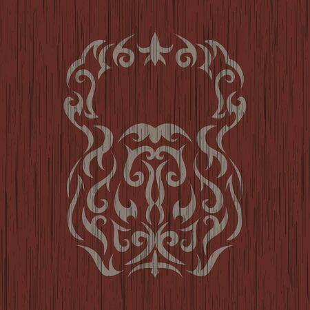 color tribal tattoo: Vector illustration of kettlebell. Kettlebell stylized like tribal art or tattoo. Pictogram in black color on the white background.