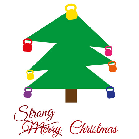 replaced: Vector strong Christmas card. Stylized illustration witch christmas tree with kettlebells. Strikethrough text Merry is replaced by the text strong.