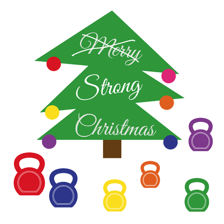 Vector strong Christmas card. Stylized illustration witch christmas tree with kettlebells on wooden background. Strikethrough text Merry is replaced by the strong. Illustration