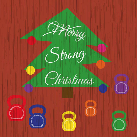 strikethrough: Vector strong Christmas card. Stylized illustration witch christmas tree with kettlebells on wooden background. Strikethrough text Merry is replaced by the strong. Illustration