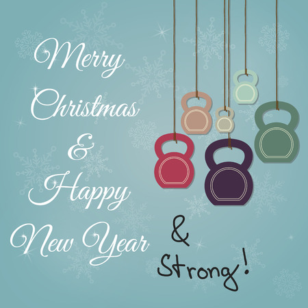 Vector vintage Christmas and New Year greeting Card. Greeting card with ketllebells stylized like christmas decorations and with additional handwritten text.