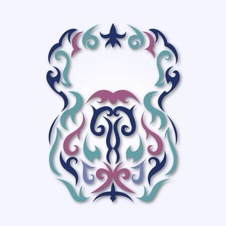 Vector illustration of kettlebell. Kettlebell stylized like tribal art or tattoo. Pictogram in colors. Illustration